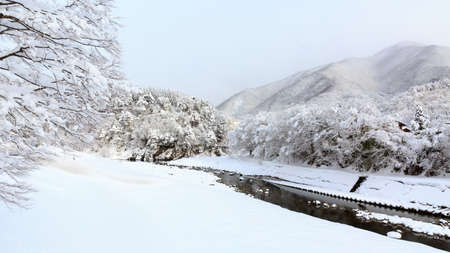 shirakawago: Winter river in Shirakawa-go and Gokayama, japan Stock Photo
