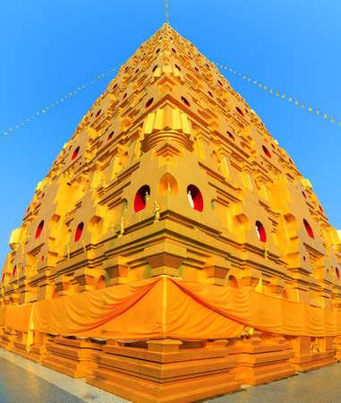 sangkhla buri: Vertical panorama of Bodhgaya stupa at Wat wangvivagegaram, Sangkhla Buri Kanchanaburi, Thailand