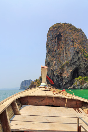 Bow of Thai long tail boat in a sea, Krabi, Thailand photo