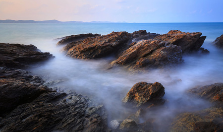 rayong: Seascape of Khao Laem Ya in sunrise Rayong Thailand Stock Photo