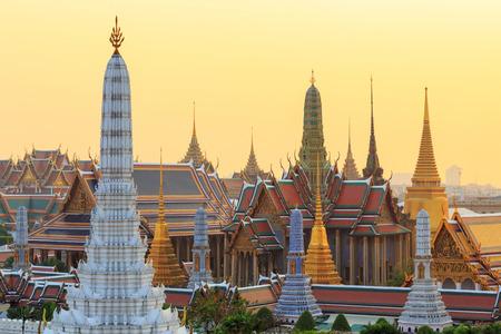 grand buddha: Temple of the Emerald Buddha  Wat Phra Kaew in sunset time Bangkok Thailand