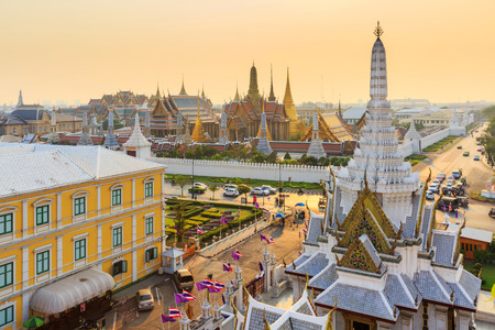emerald city: Temple of the Emerald Buddha  Wat Phra Kaew in sunset time Bangkok Thailand