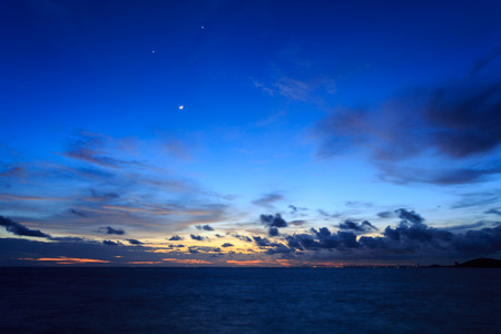 time to shine: Smile moon or earth shine on sea in twilight time Koh Samet Rayong Thailand
