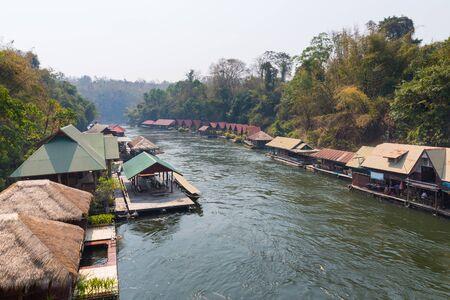 sangkhla buri: Houseboat village in Kwai river, Kanchanaburi, Thailand