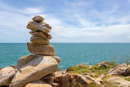 koh samet: Stack of stones on beach in Koh Samet, Rayong, Thailand