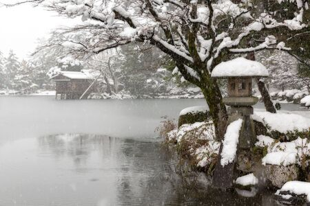 Winter Kenrokuen Garden in Kanazawa, Ishikawa, Japan