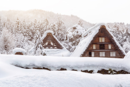 gassho zukuri: Historic Villages of Shirakawa-go and Gokayama winter, travel landmark in japan