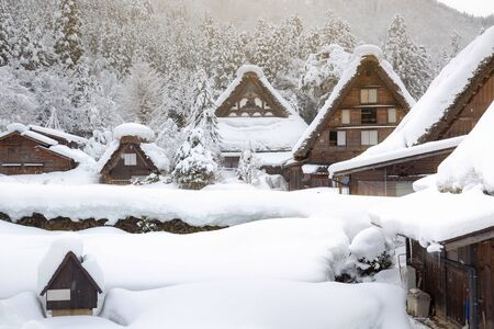shirakawa go: Historic Villages of Shirakawa-go and Gokayama winter, travel landmark in japan