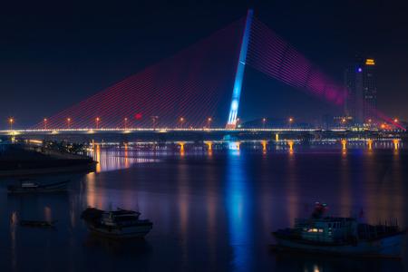 tran: Cityscape of Tran Thi Ly bridge in Danang, Vietnam