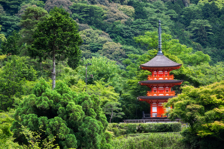 Red pagoda in summer at Kiyomizu-dera Temple, Kyoto, Japan