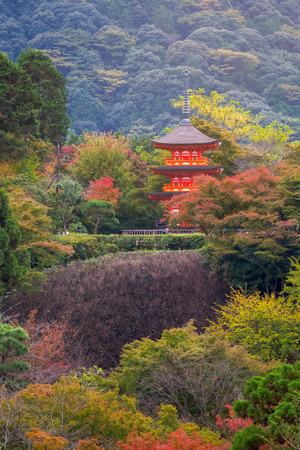 Red pagoda in autumn at Kiyomizu-dera Temple, Kyoto, Japan