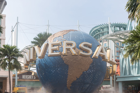 beauty fountain: SINGAPORE - NOVEMBER 18, 2016:  The large rotating globe fountain in front of Universal Studios at Singapore