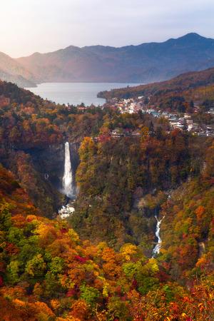 Kegon Falls and Chuzenji lake in autumn, Akechidaira Plateau, Nikko, Japan