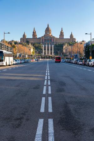 espanya: National Museum on Montjuic hill in Placa De Espanya, Barcelona, Catalonia, Spain