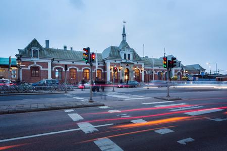 karlstad: Karlstad central railway station at dusk in sweden