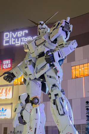 Odaiba Japan - September 04 2017: New Unicorn Gundam Full-size 11 scale at Diver City, Odaiba, Tokyo, Japan
