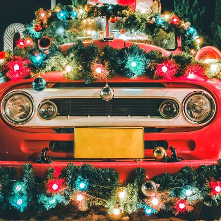 Christmas decoration light bulb on retro car for new year and xmas festival, Vintage style