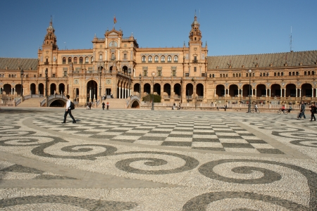 decorated square at Plaza de Espana in Seville 에디토리얼