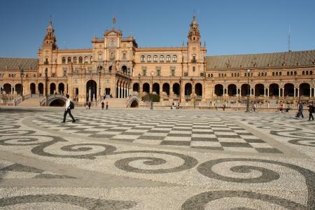 decorated square at Plaza de Espana in Seville Editorial