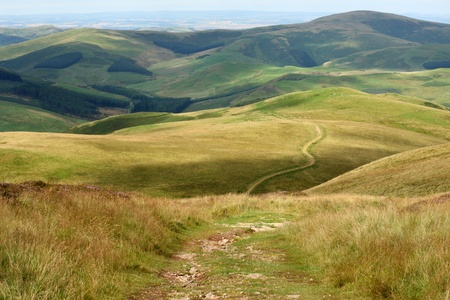 footpath across rolling hills in Cheviot Hills, Northumberland  Stock Photo