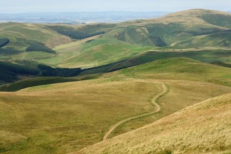footpaht across Cheviot Hills in Northumberland, England Stock Photo