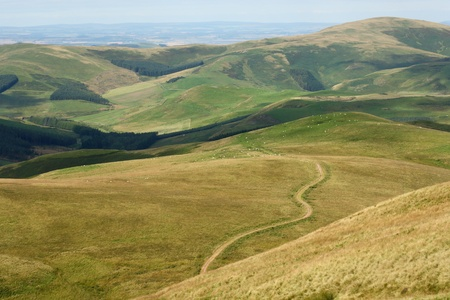 footpaht across Cheviot Hills in Northumberland, England Stock Photo