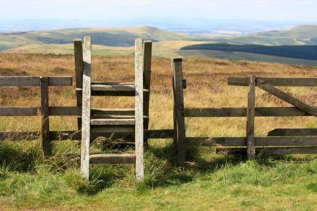 stile: ladder stile across fence in Cheviot Hills in Northumberland