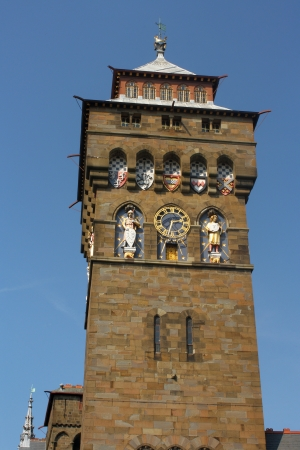 clock tower: Clock tower at Cardiff Castle