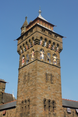 clock tower: Clock tower at Cardiff Castle in Wales Editorial