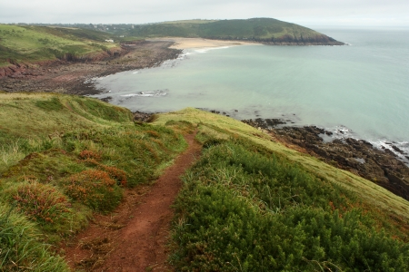 view of Manorbier Bay in Pembrokeshire Coast National Park