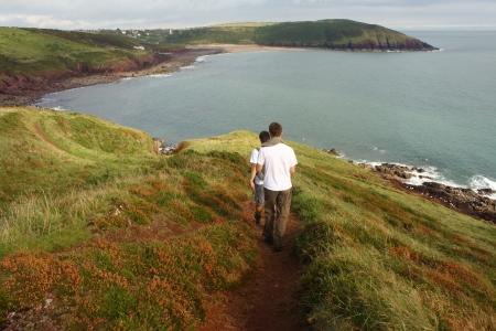 pembrokeshire: walkers in Pembrokeshire Coastal National Park