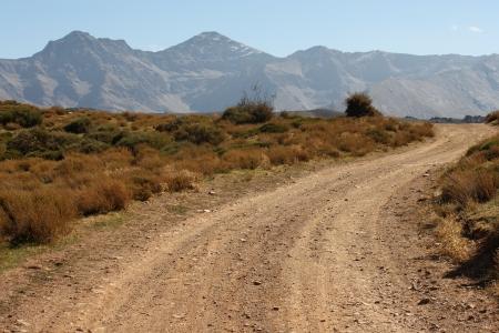 dusty road in Sierra Nevada National Park, Spain Stock Photo