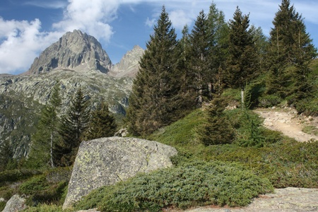 rocky footpath in Aiguilles Rouges near Chamonix, France