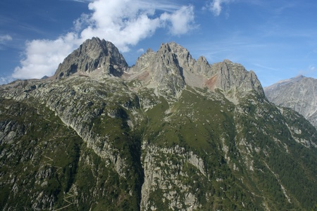 craggy: craggy peaks in Aiguilles Rouges near Chamonix, France