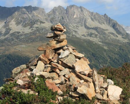 cairn: man-made cairn in French Alps