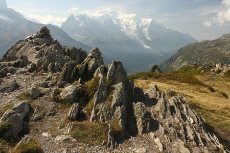 aerial view of Chamonix valley with Mont Blanc in background Stock Photo