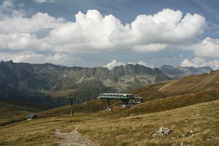 station ski: ski lift station in Aiguilles Rouges, French Alps