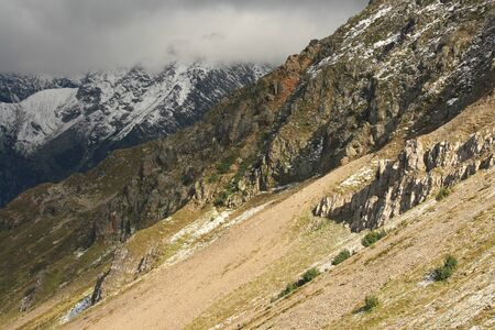 craggy: craggy slopes in Les Contamines, French Alps
