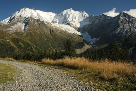 massif: footpath to Mont Blanc massif, France Stock Photo