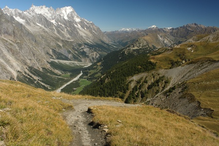aerial view of Aosta Valley in Graian Alps photo