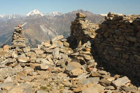 cairn marker in Graian Alps, Italy Stock Photo - 17023087