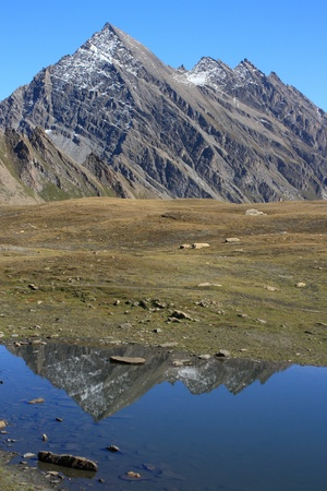 alpine peaks reflecting in glacial lake Stock Photo - 16989356