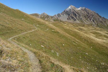 veny: footpath across meadows in Val Veny, Italy