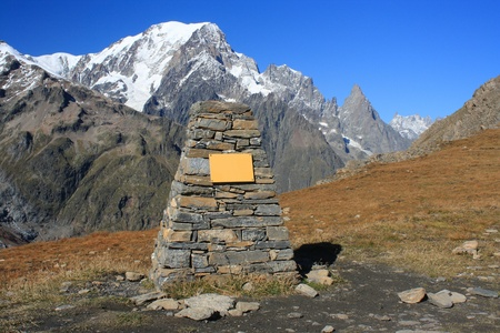 trail marker in Val Veny, Graian Alps photo