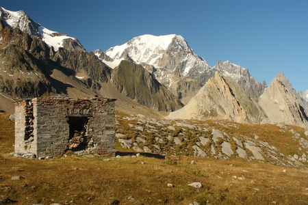 derelict mountain hut in Val Veny, Italy photo
