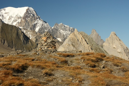 veny: pile of stones above Val Veny, Italy