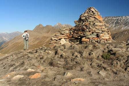 veny: walker admiring view of Val Veny, Italy
