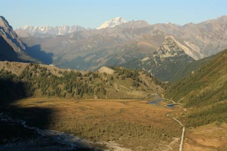 veny: aerial view of Val Veny in Graian Alps Stock Photo