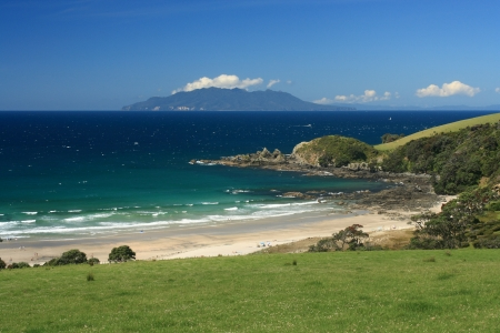 barrier island: view of Great Barrier Island from Tawharanui Peninsula Stock Photo