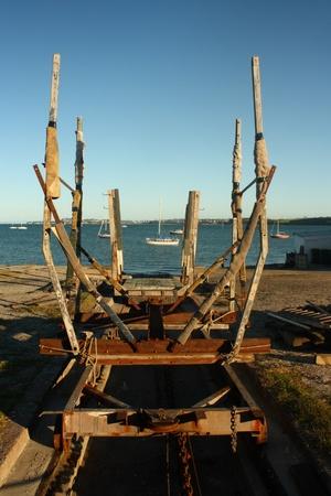 boat trailer: old boat trailer
